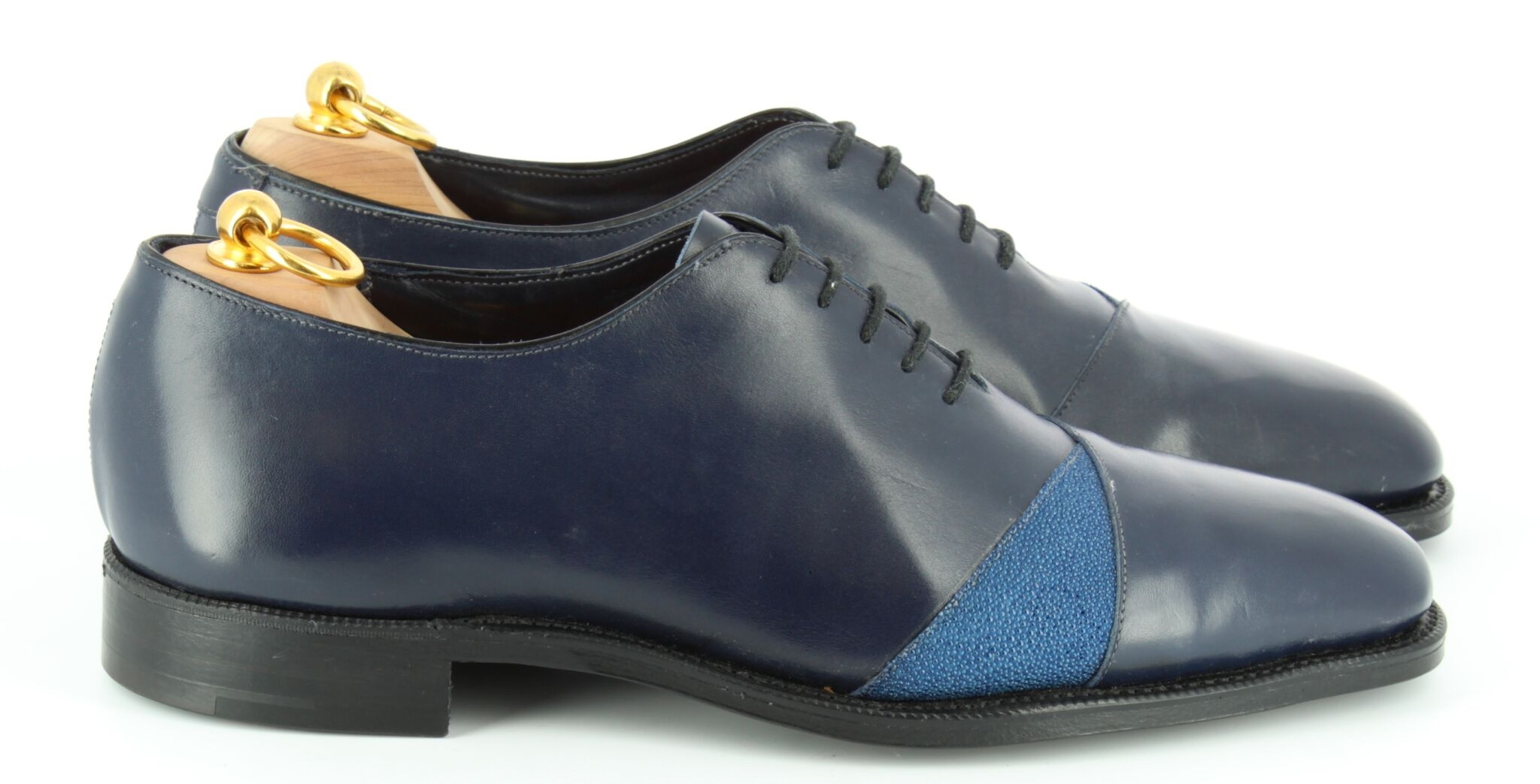 navy blue welted oxfords